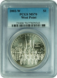 2002-W PCGS MS70 West Point Commemorative Silver Dollar Faded Label