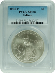 2004-P PCGS MS70 Edison Silver Dollar Faded Label