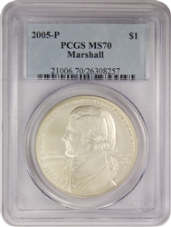 2005-P PCGS MS70 Marshall Silver Dollar Classic Label