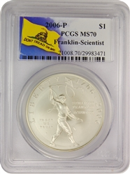 2006-P PCGS MS70 Franklin-Scientist Dollar Don't Tread On Me Label