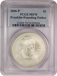 2006-P PCGS MS70 Franklin-Founding Father Silver Dollar Classic Label