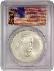 2006-P PCGS MS70 Franklin-Founding Father Silver Dollar Freedom Label