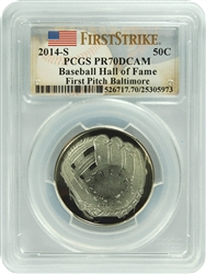 2014-S PCGS PR70DCAM First Pitch Baltimore Baseball Hall of Fame 50c FS