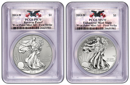 2013 West Point Silver Eagle Set PCGS 70 FIRST STRIKE (WEST POINT LABEL)