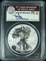 2012-S PCGS PR69DCAM Silver Eagle 75th Ann First Strike AUTOGRAPHED