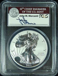 2012-S PCGS PR69 REV PR Silver Eagle 75th Ann First Strike AUTOGRAPHED