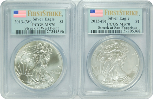 2013 (W) (S) PCGS MS70 SET FIRST STRIKE Silver Eagle
