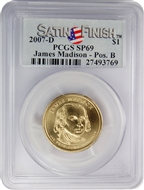 2007-D PCGS SP69 James Madison-Pos. B Presidential Dollar with Satin Finish Label
