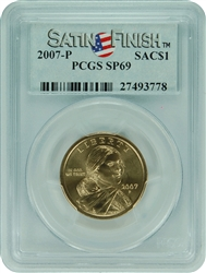 2007-P PCGS SP69 SACAGAWEA DOLLAR Satin Finish Label