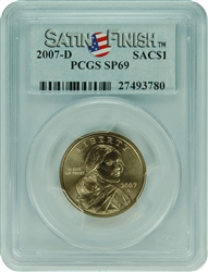 2007-D PCGS SP69 Sacagawea $1 Satin Finish Label