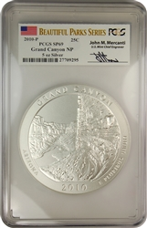 2010-P PCGS SP69 Grand Canyon NP 5oz SILVER America The Beautiful Parks Series Autographed John M. Mercanti