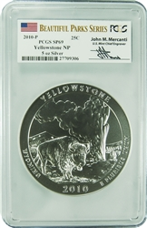 2010-P PCGS SP69 Yellowstone NP 5oz Silver (Mercanti Signature)