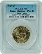 2007-P PCGS SP69 James Madison-Pos. B Satin Finish Presidential Dollar with Faded Label