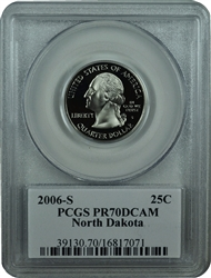 2006-S PCGS PR70DCAM North Dakota Statehood Quarter