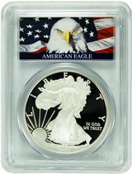 2008-W PCGS PR70DCAM Silver Eagle Dollar Bald Eagle Label