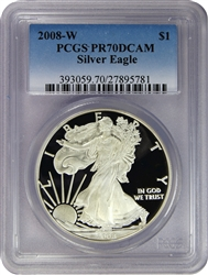 2008-W PCGS PR70DCAM Silver Eagle Dollar Faded Label