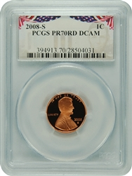 2008-S PR70RD DCAM Lincoln Cent Bunting Label