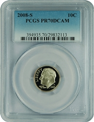 2008-S PCGS PR70DCAM Roosevelt Dime Faded Label