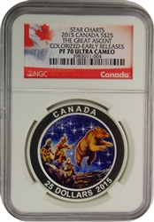 2015 CANADA 25$ STAR CHARTS THE GREAT ASCENT NGC PF70 ULTRA CAMEO, EARLY RELEASE