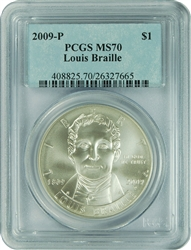 2009-P PCGS MS70 Louis Braille CL Silver Dollar