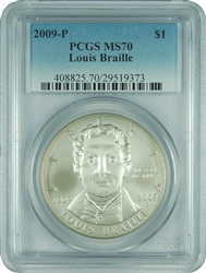 2009-P PCGS MS70 Louis Braille Faded Label Silver Dollar