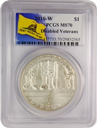 2010-W PCGS MS70 Disabled Veterans Don't Tread On Me Label