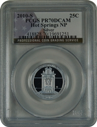 2010-W PCGS PR70DCAM Hot Springs Silver National Park