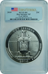 2010 PCGS BU Hot Springs NP 5oz Silver First Strike Label Quarter