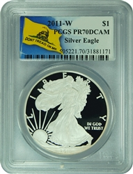 2011-W PCGS PR70DCAM Silver Eagle Dollar Don't Tread On Me Label