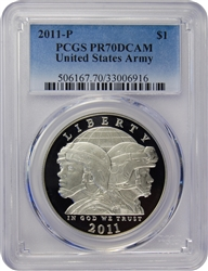 2011-P PCGS PR70DCAM United States Army Commemorative Silver Dollar Faded Label