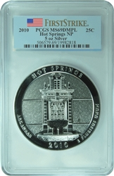 2010 PCGS MS69DMPL 5oz SILVER HOT SPRINGS  NP America The Beautiful National Parks  FIRST STRIKE Quarter