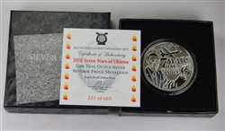 2016 SEVEN WARS OF OBAMA ONE TROY OUNCE SILVER REVERSE PROOF. 999 W/COA