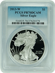 2013-W PCGS PR70DCAM Silver Eagle Dollar (New PCGS Label)