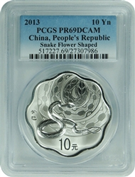 2013 PCGS PR69DCAM China, People's Republic Snake Flower Shaped 10Yn