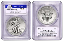 2013 W Silver Eagle Set MS70/R70 Mint State Enhanced  PCGS 70 FIRST STRIKE (Miles Standish Auto)