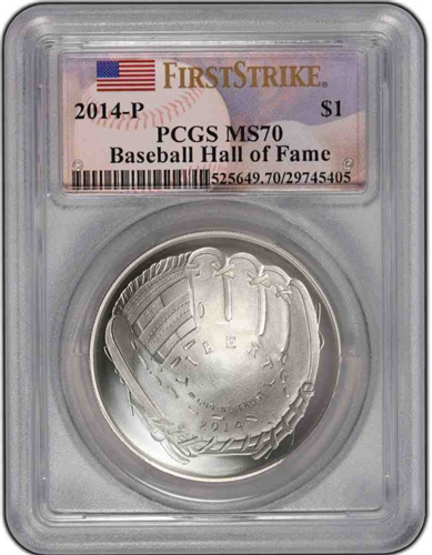 2014-P PCGS MS70 Baseball Hall Of Fame First Strike $1