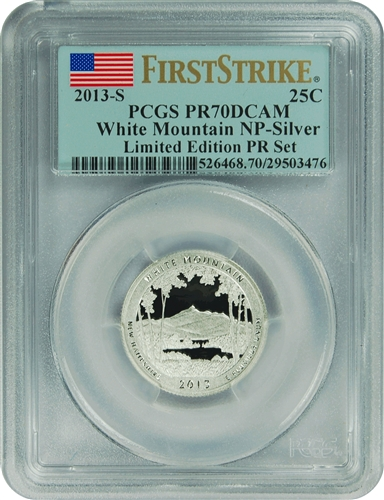 2013-S PCGS PR70DCAM White Mountain NP-Silver (First Strike) Limited Edition