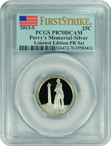 2013-S PCGS PR70DCAM Perry's Memorial-Silver (First Strike) Limited Edition