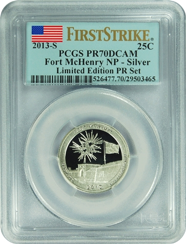 2013-S PCGS PR70DCAM Fort McHenry NP-Silver (First Strike) Limited Edition