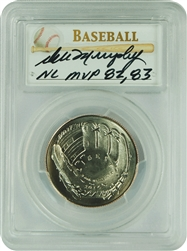 2014-D PCGS MS70 Baseball Young Collector Set Autographed Dale Murphy MVP 82,83 .50 First Strike