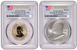 2015 Dwight D Eisenhower Coin and Chronicles Dollar PCGS Reverse PR70and MS70 FS