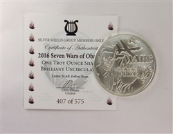 2016 SEVEN WARS ONE NOBEL PEACE PRIZE SILVER SHIELD ONE TROY OUNCE SILVER . 999