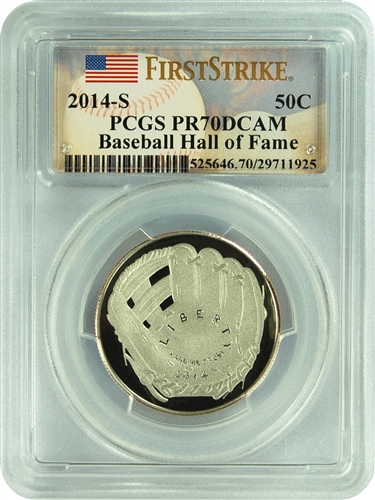 2014-S PCGS PR70DCAM Baseball Hall of Fame 50C (First Strike)