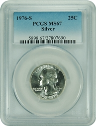1976-S PCGS MS67 Washington Quarter. New PCGS label.