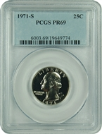 1971-S PCGS PR69 Washington Quarter Classic Label