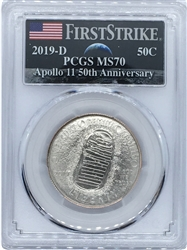 2019 D Apollo 11 50th Anniversary Half Dollar PCGS MS70 FS
