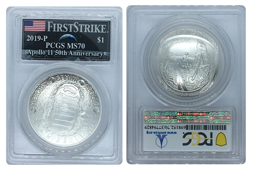 2019 Apollo 11 50th Anniversary Silver Dollar PCGS MS70 FS