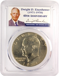 1974 PCGS MS65 Eisenhower Dollar Presidential Label