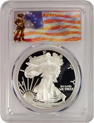 2006-W PCGS PR70DCAM Silver Eagle Dollar Freedom Label
