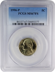 1996-P PCGS MS67FS Jefferson Nickel (Faded Label)